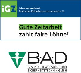 Logos: Interessenverband Deutscher Zeitarbeitsunternehmen e.V. und B.A.D Gesundheitsvorsorge und Sicherheitstechnik